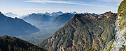 From atop Mount Dickerman, see South Fork Stillaguamish River Valley, Mount Pilchuck, and Three Fingers Mountain (6854 feet). Mount Dickerman Trail #710 in Mount Baker-Snoqualmie National Forest starts from the Mountain Loop Highway east of Verlot, Washington, USA. Panorama stitched from 3 images.