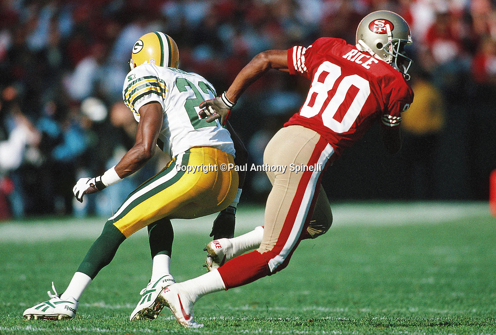 Green Bay Packers defensive back Matthew Dorsett (23) covers San Francisco 49ers wide receiver Jerry Rice on a pass route during the NFL NFC Divisional Playoff football game against the San Francisco 49ers on Jan. 6, 1996 in San Francisco. The Packers won the game 27-17. (©Paul Anthony Spinelli)