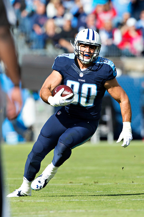 NASHVILLE, TN - NOVEMBER 15:  Anthony Fasano #80 of the Tennessee Titans runs the ball during a game against the Carolina Panthers at Nissan Stadium on November 15, 2015 in Nashville, Tennessee.  (Photo by Wesley Hitt/Getty Images) *** Local Caption *** Anthony Fasano