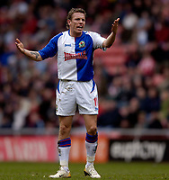 Photo: Jed Wee.<br />Sunderland v Blackburn Rovers. The Barclays Premiership. 25/03/2006.<br /><br />Blackburn's Craig Bellamy has an outburst about a refereeing decision.