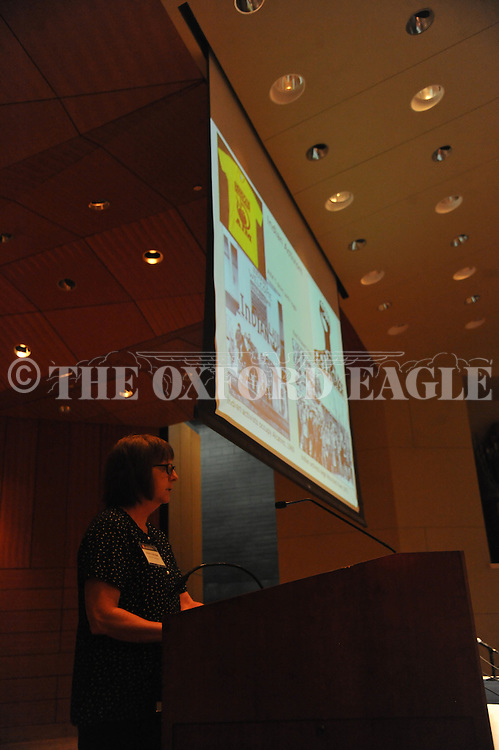 """Robbie Ethridge, professor of anthropology at the University of Mississippi, speaks on """"The Indians of Mississippi"""" during the Faulkner & Yoknapatawpha Conference, which got underway in Oxford, Miss. on Sunday, July 17, 2016. The theme of this year's conference is """"Faulkner and the Native South."""""""