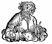 Aristarchos of Samos (active 260 BC) Alexandrian astronomer who maintained that the earth orbits the sun (heliocentric universe). Woodcut from Hartmann Schedel 'Liber chronicarum mundi' (Nuremberg Chronicle) Nuremberg, 1493.