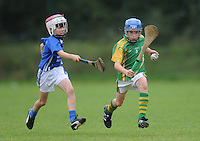 21 Aug 2016:   Hurling U11 Toomevara of Tipperary (green) v Shinrone/Coolderry of Offaly (blue).   2016 Community Games National Festival 2016.  Athlone Institute of Technology, Athlone, Co. Westmeath. Picture: Caroline Quinn