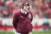 LITTLE ROCK, ARKANSAS - NOVEMBER 23:  Head Coach Dan Mullen of the Mississippi State Bulldogs on the sidelines during a game against the Arkansas Razorbacks at War Memorial Stadium on November 23, 2013 in Little Rock, Arkansas.  The Bulldogs defeated the Razorbacks 24-17.  (Photo by Wesley Hitt/Getty Images) *** Local Caption *** Dan Mullen
