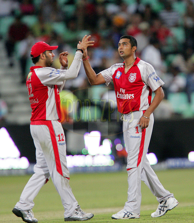 DURBAN, SOUTH AFRICA - 24 April 2009. Yuvraj Singh celebrates his first wicket of the day during the IPL Season 2 match between the Royal Challengers Bangalore and the Kings X1 Punjab held at Sahara Stadium Kingsmead, Durban, South Africa..