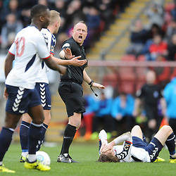 TELFORD COPYRIGHT MIKE SHERIDAN 16/3/2019 - Telford players protest to the referee after James McQuilkin of AFC Telford is fouled during the FA Trophy semi final first leg fixture between Leyton Orient and AFC Telford United at Brisbane Road.