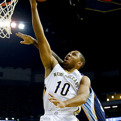 Dec 13, 2013; New Orleans, LA, USA; New Orleans Pelicans shooting guard Eric Gordon (10) shoots against the Memphis Grizzlies during the first quarter of a game at New Orleans Arena. Mandatory Credit: Derick E. Hingle-USA TODAY Sports