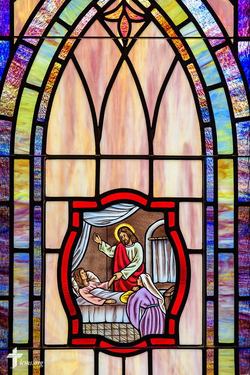 Stained glass depicting Jesus healing Jairus's Daughter (Luke 8:54) at St. John's Lutheran Church, Conover, N.C, on Friday, April 21, 2017. LCMS Communications/Erik M. Lunsford
