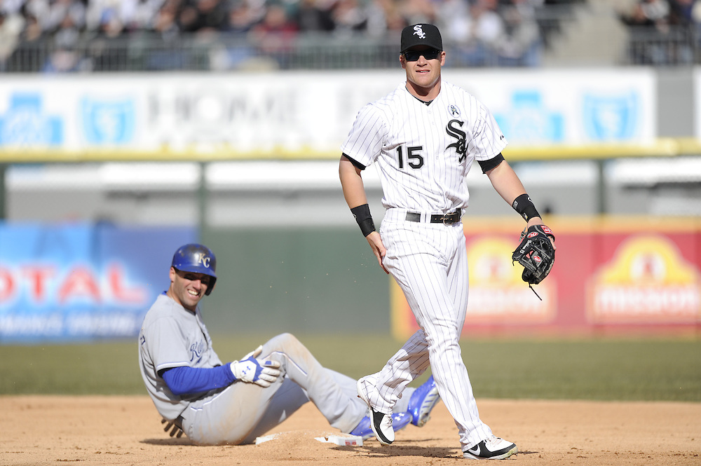CHICAGO - APRIL 01:  Gordon Beckham #15 of the Chicago White Sox fields against the Kansas City Royals on April 1, 2013 at U.S. Cellular Field in Chicago, Illinois.  The White Sox defeated the Royals 1-0.  (Photo by Ron Vesely)   Subject: Gordon Beckham