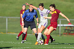 04 November 2016:  Referee Doug Wolff, Montana Portenier and Madison Kimball during an NCAA Missouri Valley Conference (MVC) Championship series women's semi-final soccer game between the Loyola Ramblers and the Evansville Purple Aces on Adelaide Street Field in Normal IL