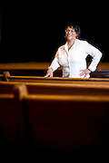 Writer Michele Andrea Bowen inside the performance hall at Hayti Heritage Center in Durham, NC.