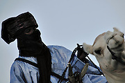 """Tuareg man during the election of the best camel for the """"III Rencontre Internationale d'Imzad"""", Tamanrasset, November 2011"""