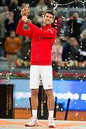 Novak Djokovic with the trophy during the final of the Madrid Open at Manzanares Park Tennis Centre, Madrid<br /> Picture by EXPA Pictures/Focus Images Ltd 07814482222<br /> 08/05/2016<br /> ***UK &amp; IRELAND ONLY***<br /> EXPA-ESP-160509-0104.jpg