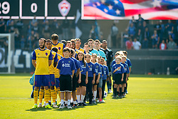 October 21, 2018 - San Jose, California, United States - San Jose, CA - Sunday October 21, 2018: National anthem, Colorado Rapids  prior to a Major League Soccer (MLS) match between the San Jose Earthquakes and the Colorado Rapids at Avaya Stadium. (Credit Image: © Lyndsay Radnedge/ISIPhotos via ZUMA Wire)