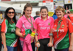 Mayo supporters  Jean , Ashling,Yvonne Gargan and Ann Walsh from Breaffy on their way to the Gaelic grounds.<br /> Pic Conor McKeown