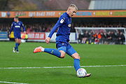 AFC Wimbledon striker Joe Pigott (39) shoots at goal during the EFL Sky Bet League 1 match between AFC Wimbledon and Lincoln City at the Cherry Red Records Stadium, Kingston, England on 2 November 2019.