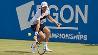 Tennis - 2017 Aegon Championships [Queen's Club Championship] - Day Three, Wednesday<br /> <br /> Men's Singles, Round of 16 - Grigor Dimitrov (BUL) vs Julien Benneteau (FRA)<br /> <br /> Julien Benneteau (FRA) sttops to get to a low shot at Queens Club<br /> <br /> COLORSPORT/DANIEL BEARHAM