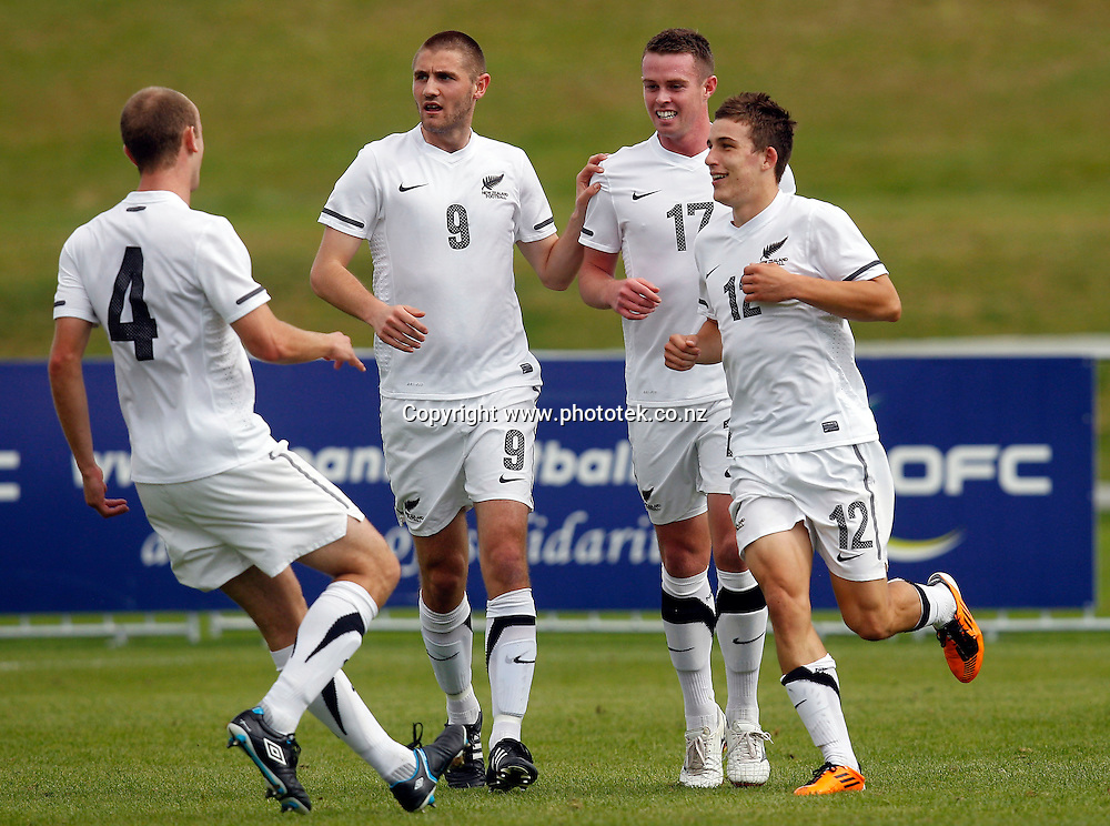 NZ's Louis Fenton celebrates his goal. OFC Men's Olympic Qualifier New Zealand 2012 Semi Final, New Zealand v Vanuatu, Owen Delany Park Taupo, Friday 23rd March 2012. Photo: Shane Wenzlick