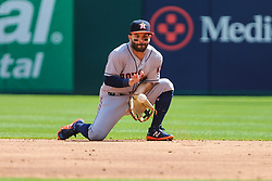 March 29, 2018 - Arlington, TX, U.S. - ARLINGTON, TX - MARCH 29: Houston Astros second baseman Jose Altuve (27) fields the baseball during the game between the Texas Rangers and the Houston Astros on March 29, 2018 at Globe Life Park in Arlington, Texas. Houston defeats Texas 4-1. (Photo by Matthew Pearce/Icon Sportswire) (Credit Image: © Matthew Pearce/Icon SMI via ZUMA Press)