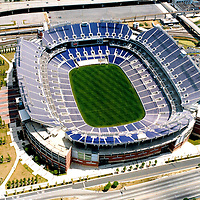 Aerial photograph of the Baltimore Ravens M&T Bank Stadium, newly built. ([Julia Robertson]/via AP Images)