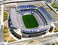 Aerial photograph of the Baltimore Ravens M&T Bank Stadium, newly built.