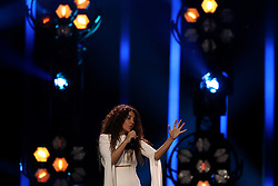 May 7, 2018 - Lisbon, Portugal - Singer Yianna Terzi of Greece performs during the Dress Rehearsal of the first Semi-Final of the 2018 Eurovision Song Contest, at the Altice Arena in Lisbon, Portugal on May 7, 2018. (Credit Image: © Pedro Fiuza/NurPhoto via ZUMA Press)