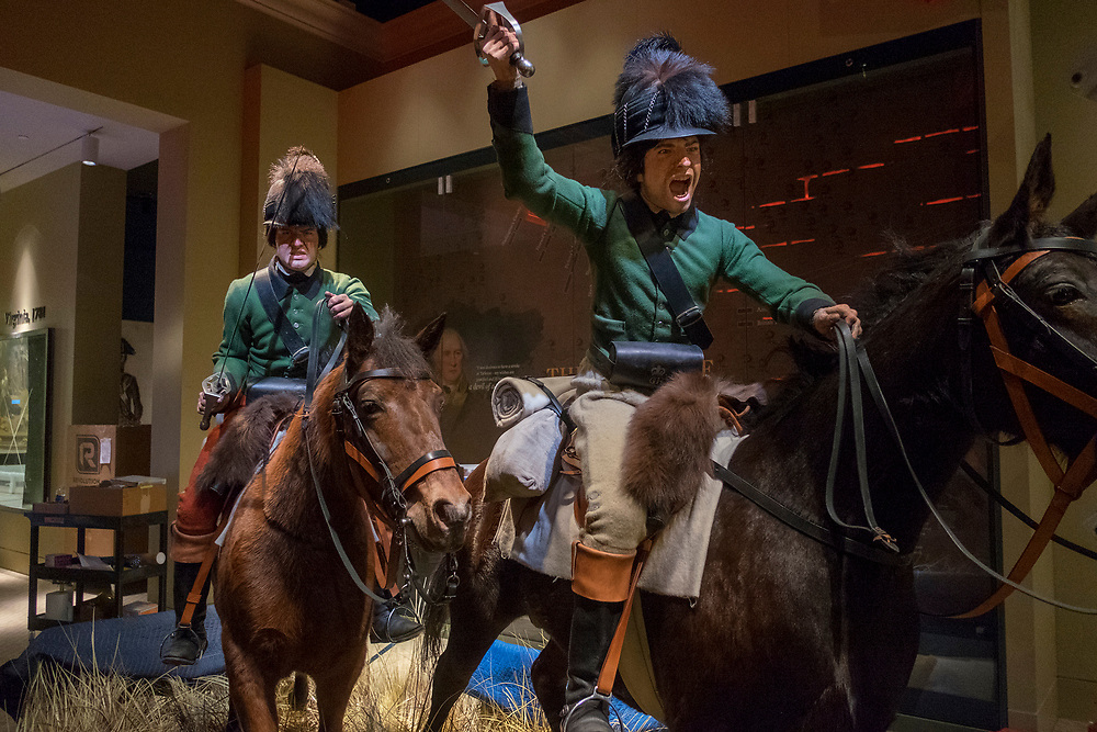 Thursday,  February 23, 2017, The Museum of the American Revolution has installed more than 15 incredibly lifelike figures in a series of historical vignettes that recreate particular moments during the American Revolution. These figures aim to personalize the wide range of people who were involved in the Revolution before the age of photography. Here, a pair of Loyalist cavalry troopers on horseback in a gallery dedicated to the war in the South.  ED HILLE . Staff Photographer
