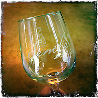 2013 March 10:  Malibu Winery location wine art.  Semler glass.  iPhone Hipsta