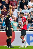 EINDHOVEN - 14-08-2016, PSV - AZ, Philips Stadion, scheidsrechter Bjorn Kuipers geeft de gele kaart aan PSV speler Jurgen Locadia