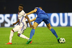 Maxwel Cornet of Lyon vs Filip Benkovic of GNK Dinamo Zagreb during football match between GNK Dinamo Zagreb and Olympique Lyonnais in Group H of Group Stage of UEFA Champions League 2016/17, on November 22, 2016 in Stadium Maksimir, Zagreb, Croatia. Photo by Morgan Kristan / Sportida