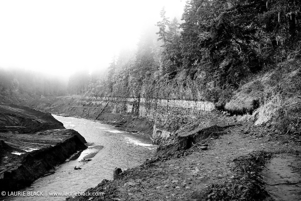B&W photograph of newly restored White Salmon River shortly after removal of Condit Dam