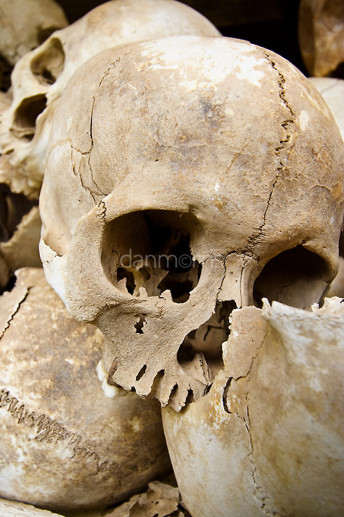 Unearthed skulls of murder victims, Choeung Ek Killing Fields, Cambodia