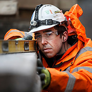 Network Rail employees.  Adam Craig at Galashiels. . Picture Robert Perry 19th April 2015<br /> <br /> Must credit photo to Robert Perry<br /> FEE PAYABLE FOR REPRO USE<br /> FEE PAYABLE FOR ALL INTERNET USE<br /> www.robertperry.co.uk<br /> NB -This image is not to be distributed without the prior consent of the copyright holder.<br /> in using this image you agree to abide by terms and conditions as stated in this caption.<br /> All monies payable to Robert Perry<br /> <br /> (PLEASE DO NOT REMOVE THIS CAPTION)<br /> This image is intended for Editorial use (e.g. news). Any commercial or promotional use requires additional clearance. <br /> Copyright 2014 All rights protected.<br /> first use only<br /> contact details<br /> Robert Perry     <br /> 07702 631 477<br /> robertperryphotos@gmail.com<br /> no internet usage without prior consent.         <br /> Robert Perry reserves the right to pursue unauthorised use of this image . If you violate my intellectual property you may be liable for  damages, loss of income, and profits you derive from the use of this image.