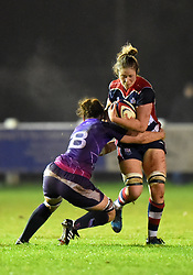 Amelia Buckland-Hurry of Bristol Ladies is tackled by Sarah Hunter of Loughborough Lightning - Mandatory by-line: Paul Knight/JMP - 11/11/2017 - RUGBY - Cleve RFC - Bristol, England - Bristol Ladies v Loughborough Lightning - Tyrrells Premier 15s