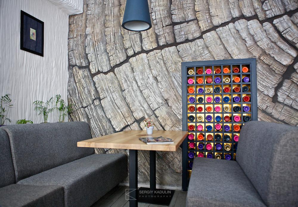 Elements of interior design of Pache restaurant located in Kyiv, Ukraine.