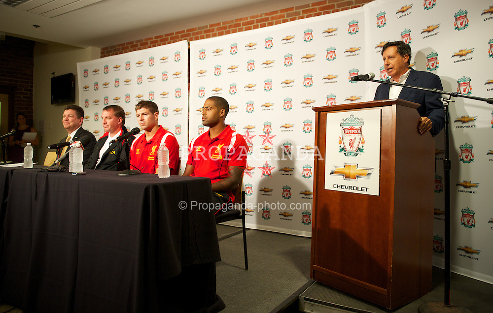 BOSTON, MA - Tuesday, July 24, 2012: Chris Perry (Chavrolet Marketing Vice President) during a press conference at Fenway Park, home of the Boston Red Sox, with manager Brendan Rodgers, captain Steven Gerrard and Glen Johnson to announce a four-year sponsorship deal with car marker Chevrolet, ahead of their second preseason match of the North American tour, against AS Roma. (Pic by David Rawcliffe/Propaganda)