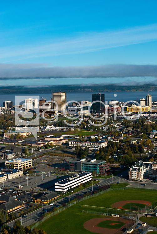 Aerial view looking north at downtown Anchorage, Alaska. Fall in Southcentral Alaska.