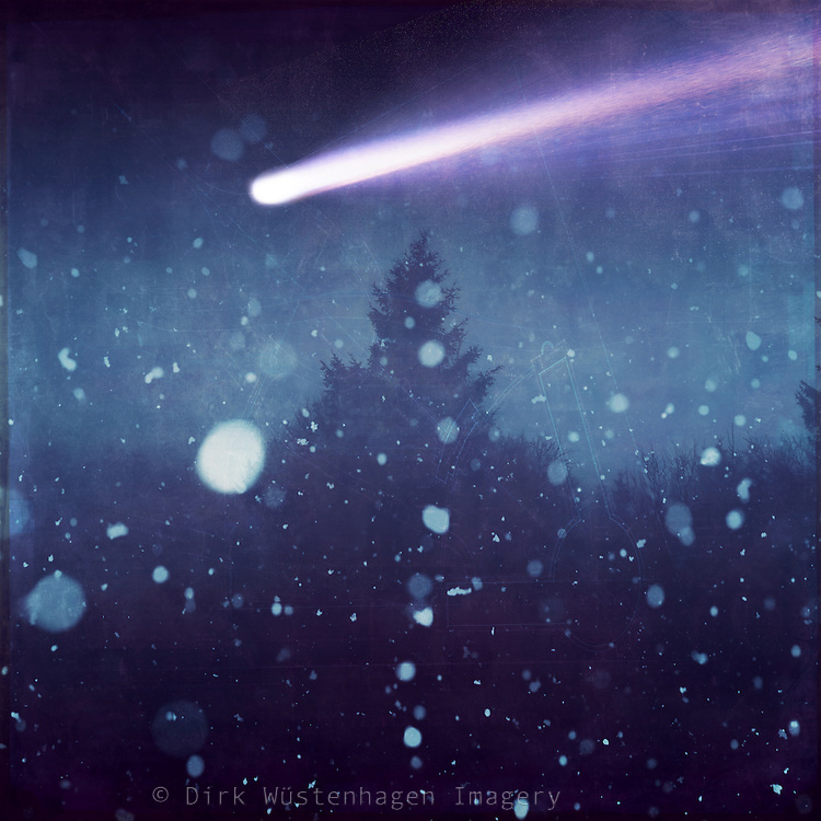 Night scene with beginning snow fall and a comet in the sky - photomanipulation