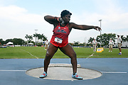 Jun 22, 2019; Miramar, FL, USA; Tedreauna Britt of Mississippi places second in the women's shot put at 51-0 3/4 (15.56m) during the USATF U20 Championships at Ansin Sports Complex.