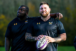 Kieran Brookes and Biyi Alo of Wasps during training ahead of the European Challenge Cup fixture against SU Agen - Mandatory by-line: Robbie Stephenson/JMP - 18/11/2019 - RUGBY - Broadstreet Rugby Football Club - Coventry , Warwickshire - Wasps Training Session
