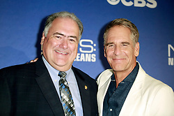 """17 September 2014. New Orleans, Louisiana.<br /> NCIS New Orleans. CBS Red carpet event at the WW2 Museum.<br /> R/L; Actor Scott Bakula - """"Dwayne Pride."""" and the shows consultant - ID unknown.<br /> Photo Credit; Charlie Varley/varleypix.com"""