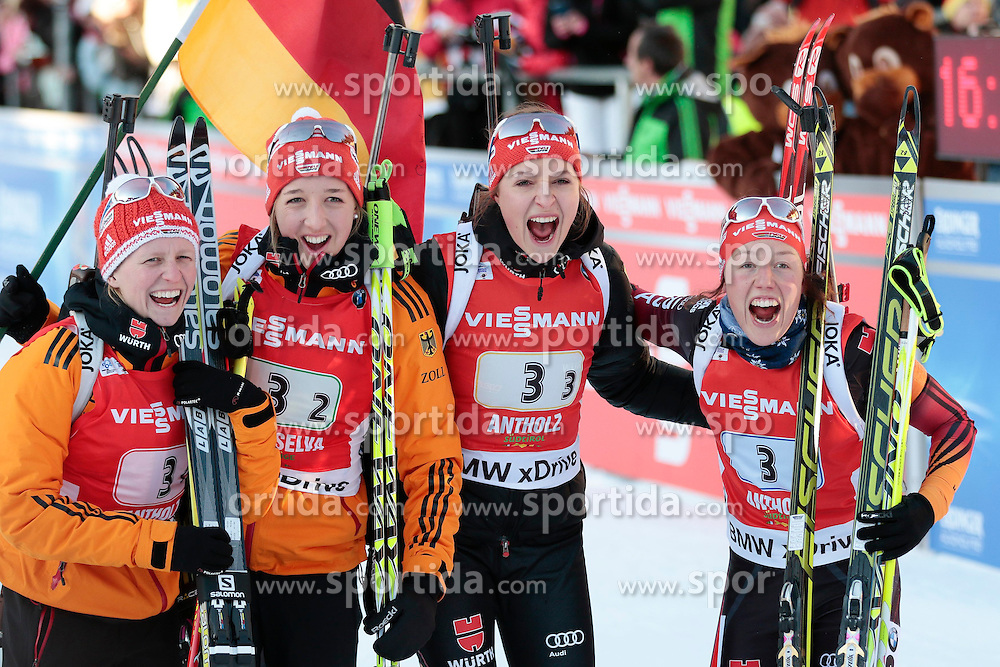 25.01.2015, Suedtirol Arena, Antholz, ITA, IBU Weltcup Biathlon, Antholz, Staffel Damen, im Bild Franziska Hildebrand (GER), Franziska Preuss (GER) /Luise Kummer (GER), Laura Dahlmeier (GER) // during the Womens Relay of IBU Biathlon World Cup at the Suedtirol Arena in Antholz, Italy on 2015/01/25. EXPA Pictures © 2015, PhotoCredit: EXPA/ Federico Modica