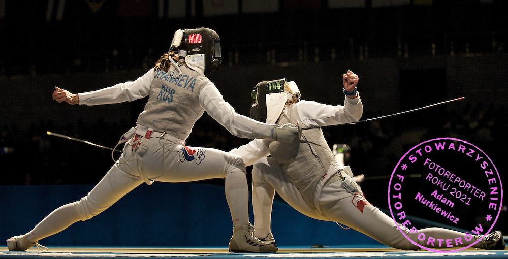 (L) AIDA SHANAEVA (RUSSIA) & (R) SYLWIA GRUCHALA (POLAND)  DURING WOMEN'S INDIVIDUAL FOIL COMPETITION DURING THE BEIJING 2008 SUMMMER OLYMPIC GAMES IN BEIJING, CHINA.. .CHINA , BEIJING , AUGUST 11, 2008..( PHOTO BY ADAM NURKIEWICZ / MEDIASPORT )..PICTURE ALSO AVAIBLE IN RAW OR TIFF FORMAT ON SPECIAL REQUEST.