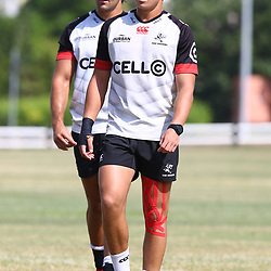 DURBAN, SOUTH AFRICA - JANUARY 23: Kobus van Wyk with Curwin Bosch during the Cell C Sharks training session at Growthpoint Kings Park on January 23, 2018 in Durban, South Africa. (Photo by Steve Haag/Gallo Images)