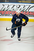 KELOWNA, BC - SEPTEMBER 22:   Zack Kassian #44 of the Edmonton Oilers practices at Prospera Place on September 22, 2019 in Kelowna, Canada. (Photo by Marissa Baecker/Shoot the Breeze)