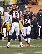 Cincinnati Bengals strong safety George Iloka (43) celebrates with Cincinnati Bengals cornerback Adam Jones (24) after Iloka recovers a second quarter fumble by Pittsburgh Steelers wide receiver Markus Wheaton (11) during the second quarter of the NFL AFC Wild Card playoff football game against the Pittsburgh Steelers on Saturday, Jan. 9, 2016 in Cincinnati. The Steelers won the game 18-16. (©Paul Anthony Spinelli)