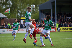 RHOSYMEDRE, WALES - Sunday, May 5, 2019: The New Saints' Jack Bodenham (L) and Connah's Quay Nomads's Michael Wilde during the FAW JD Welsh Cup Final between Connah's Quay Nomads FC and The New Saints FC at The Rock. (Pic by David Rawcliffe/Propaganda)