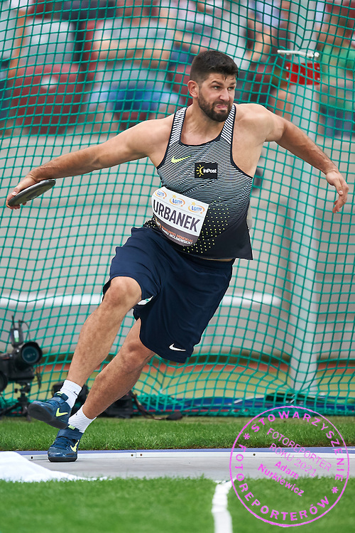 Warsaw, Poland - 2016 August 28: Robert Urbanek from Poland competes at men's discus throw competition during athletics meeting Kamila Skolimowska Memorial 2016 at PGE National Stadium  August 28, 2016 w Warsaw, Poland.<br /> <br /> Adam Nurkiewicz declares that he has no rights to the image of people at the photographs of his authorship.<br /> <br /> Picture also available in RAW (NEF) or TIFF format on special request.<br /> <br /> Any editorial, commercial or promotional use requires written permission from the author of image.<br /> <br /> Mandatory credit:<br /> Photo by &copy; Adam Nurkiewicz