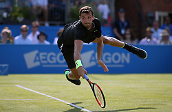 Bulgaria's Grigor Dimitrov during his match against France's Julien Benneteau during day three of the 2017 AEGON Championships at The Queen's Club, London. PRESS ASSOCIATION Photo. Picture date: Wednesday June 21, 2017. See PA story TENNIS Queens. Photo credit should read: Steven Paston/PA Wire. RESTRICTIONS: Editorial use only, no commercial use without prior permission.