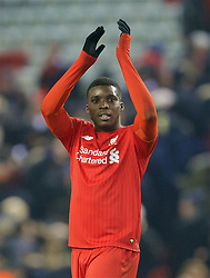 LIVERPOOL, ENGLAND - Wednesday, January 20, 2016: Liverpool's goal-scorer Sheyi Ojo applauds the the supporter after the 3-0 victory over Exeter City during the FA Cup 3rd Round Replay match at Anfield. (Pic by David Rawcliffe/Propaganda)